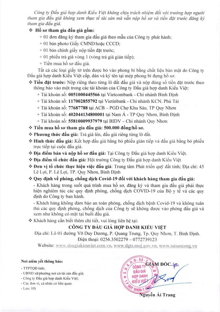 Ngày 29/10/2021, đấu giá quyền sử dụng 12 lô đất tại thành phố Quy Nhơn, tỉnh Bình Định ảnh 3