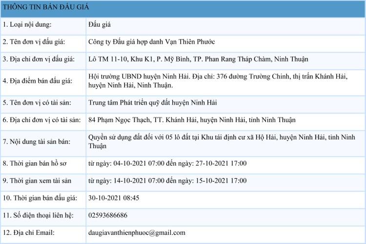 Ngày 30/10/2021, đấu giá quyền sử dụng 5 lô đất tại huyện Ninh Hải, tỉnh Ninh Thuận ảnh 1