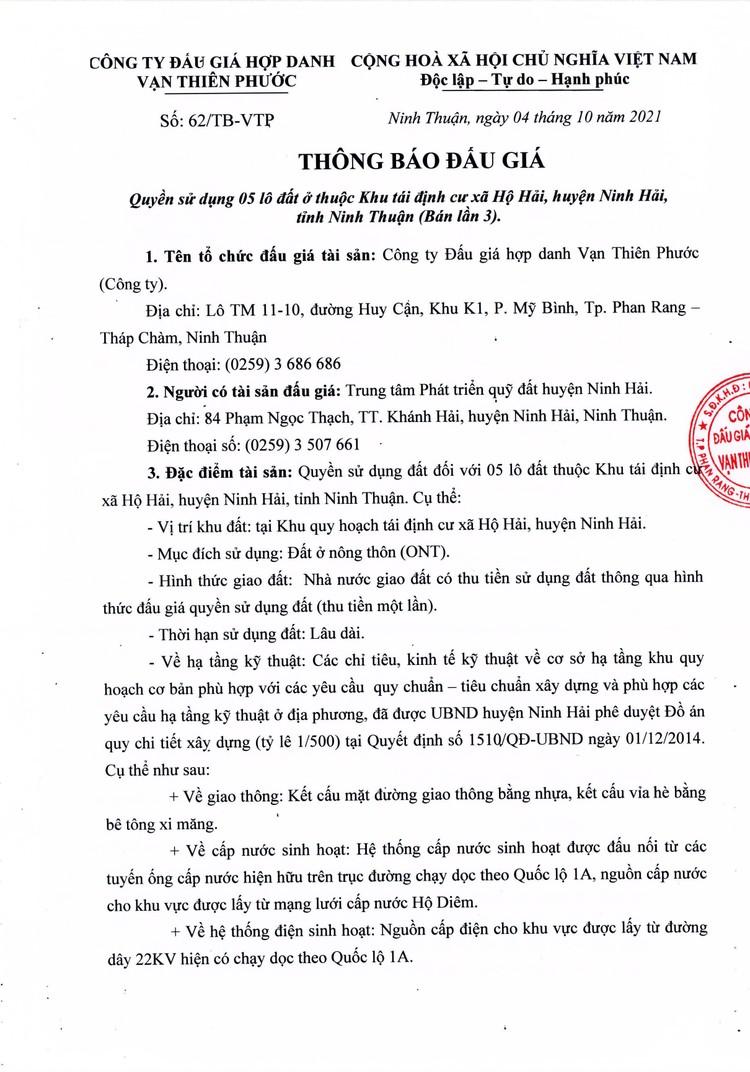 Ngày 30/10/2021, đấu giá quyền sử dụng 5 lô đất tại huyện Ninh Hải, tỉnh Ninh Thuận ảnh 2