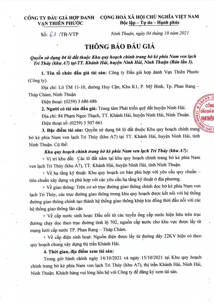 Ngày 30/10/2021, đấu giá quyền sử dụng 4 lô đất tại huyện Ninh Hải, tỉnh Ninh Thuận ảnh 2