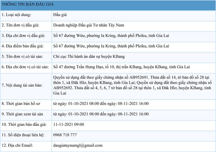 Ngày 11/11/2021, đấu giá quyền sử dụng 2 lô đất tại huyện KBang, tỉnh Gia Lai ảnh 1