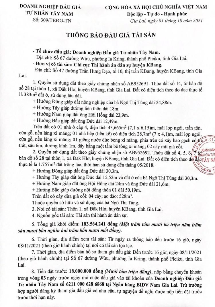 Ngày 11/11/2021, đấu giá quyền sử dụng 2 lô đất tại huyện KBang, tỉnh Gia Lai ảnh 2