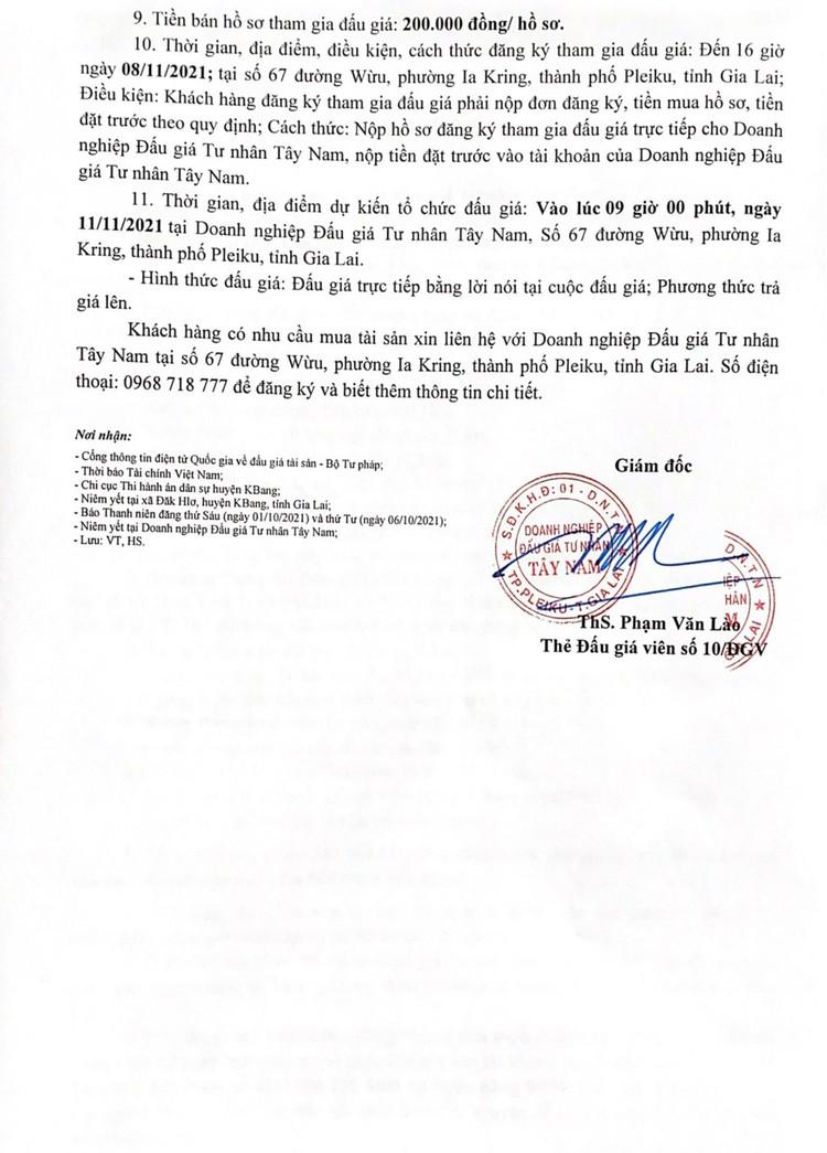 Ngày 11/11/2021, đấu giá quyền sử dụng 2 lô đất tại huyện KBang, tỉnh Gia Lai ảnh 3