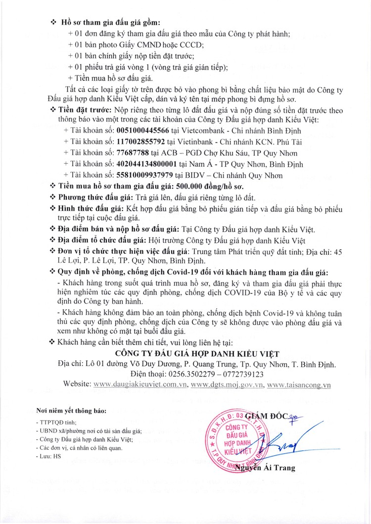Ngày 12/11/2021, đấu giá quyền sử dụng 11 lô đất tại thành phố Quy Nhơn, tỉnh Bình Định ảnh 3