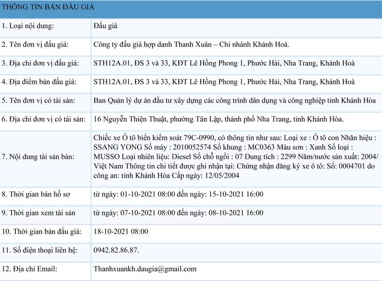 Ngày 18/10/2021, đấu giá 01 xe ô tô SSANG YONG tại tỉnh Khánh Hoà ảnh 1
