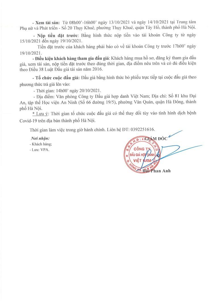 Ngày 20/10/2021, đấu giá quyền thuê tài sản tại Trung tâm Phụ nữ và Phát triển, Hà Nội ảnh 4