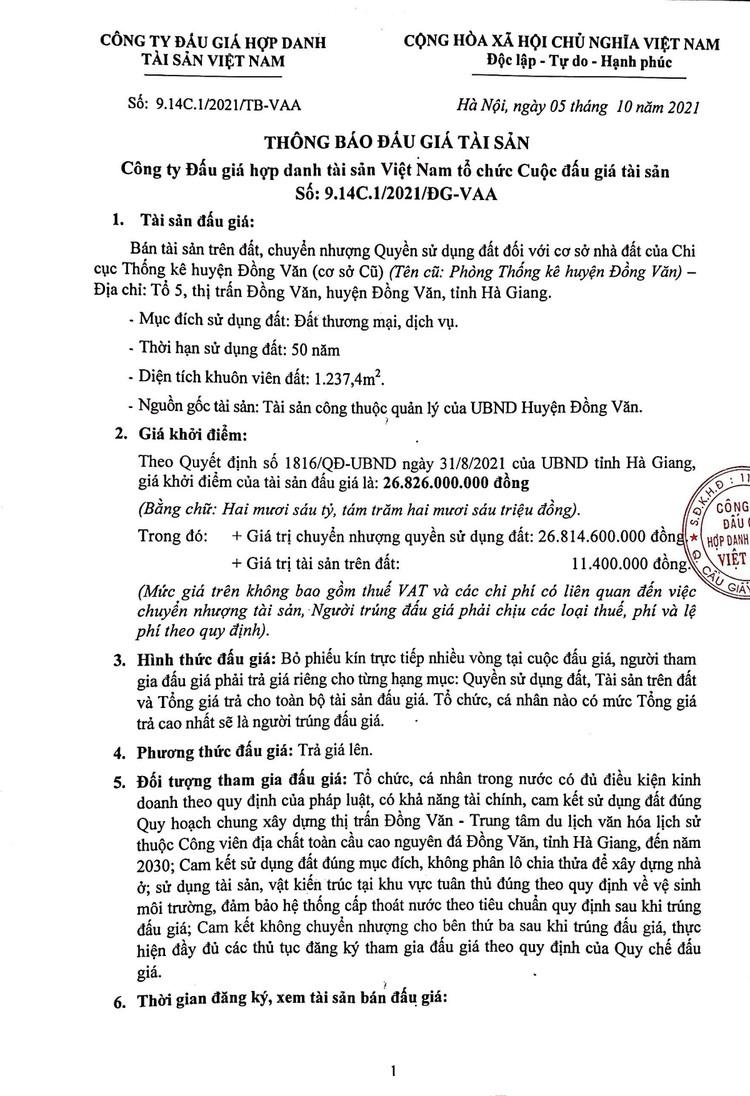 Ngày 2/11/2021, đấu giá quyền sử dụng 1.237,4 m2 đất tại huyện Đồng Văn, tỉnh Hà Giang ảnh 2