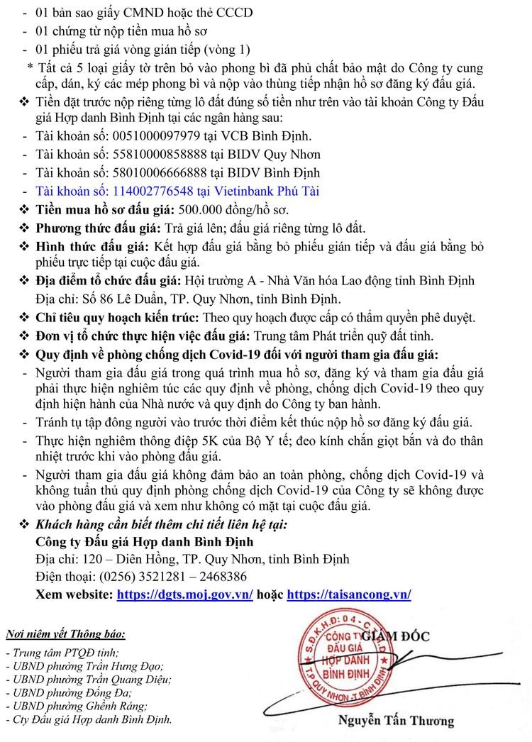 Ngày 13/11/2021, đấu giá quyền sử dụng 9 lô đất tại TP. Quy Nhơn, tỉnh Bình Định ảnh 3