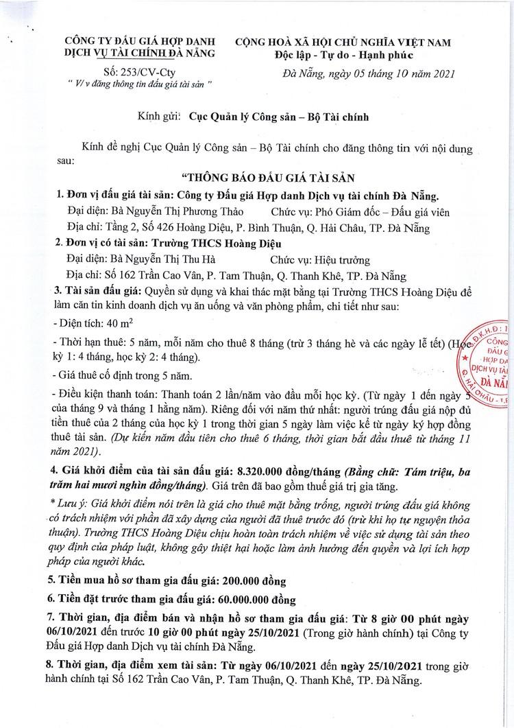 Ngày 28/10/2021, đấu giá quyền sử dụng và khai thác mặt bằng tại Trường THCS Hoàng Diệu, TP. Đà Nẵng ảnh 2