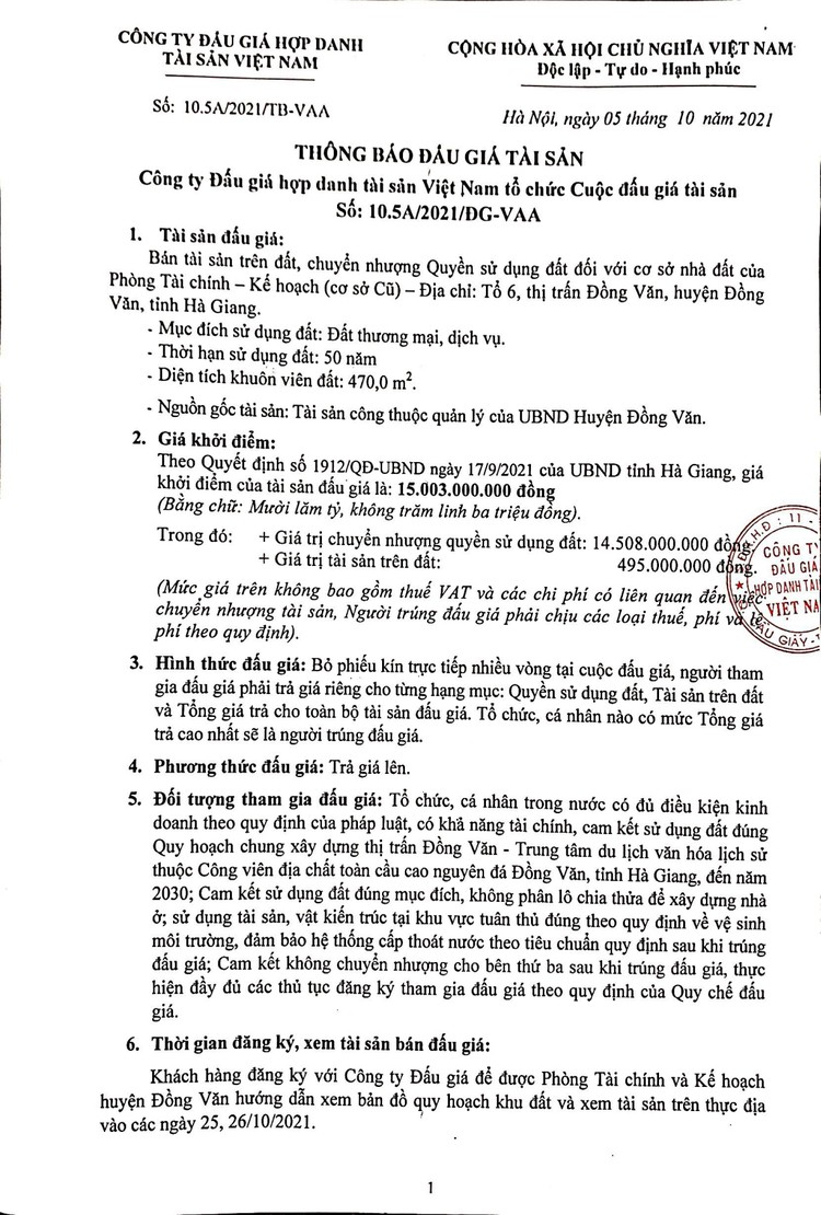 Ngày 1/11/2021, đấu giá quyền sử dụng 470 m2 đất tại huyện Đồng Văn, tỉnh Hà Giang ảnh 2