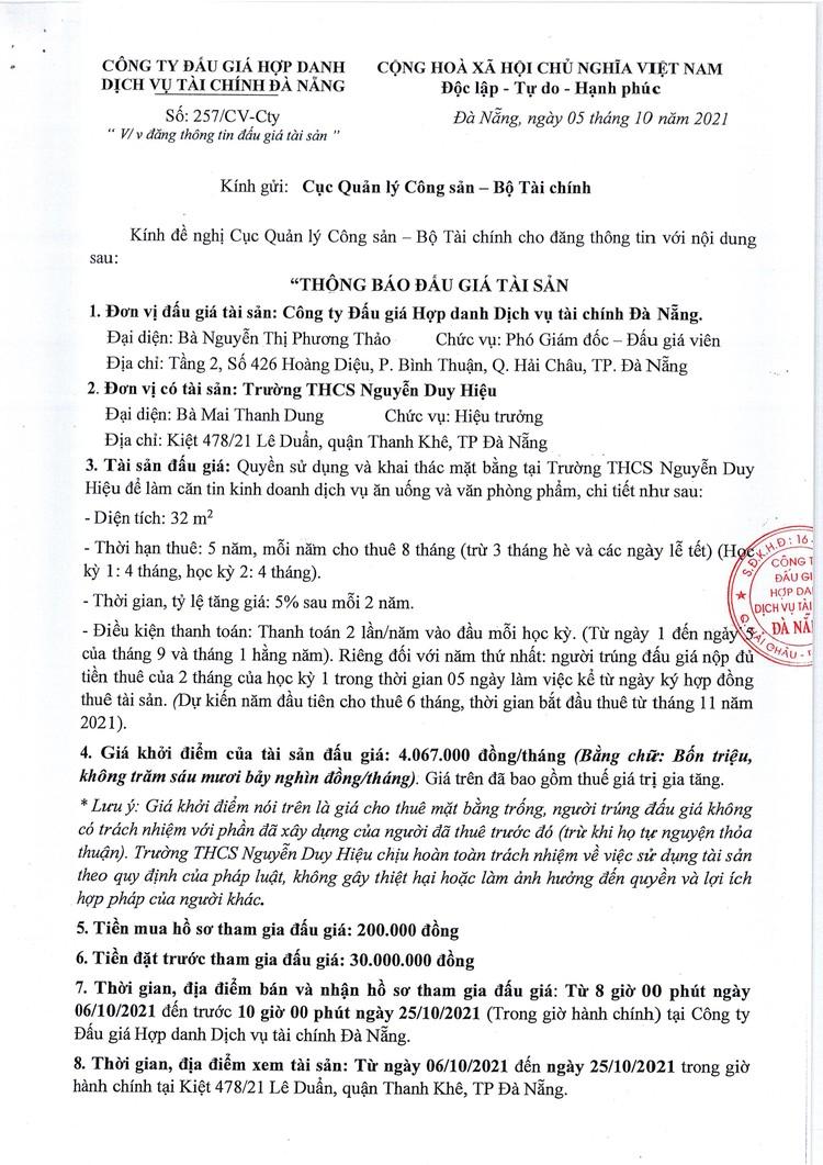 Ngày 28/10/2021, đấu giá quyền sử dụng và khai thác mặt bằng tại Trường THCS Nguyễn Duy Hiệu, TP. Đà Nẵng ảnh 2