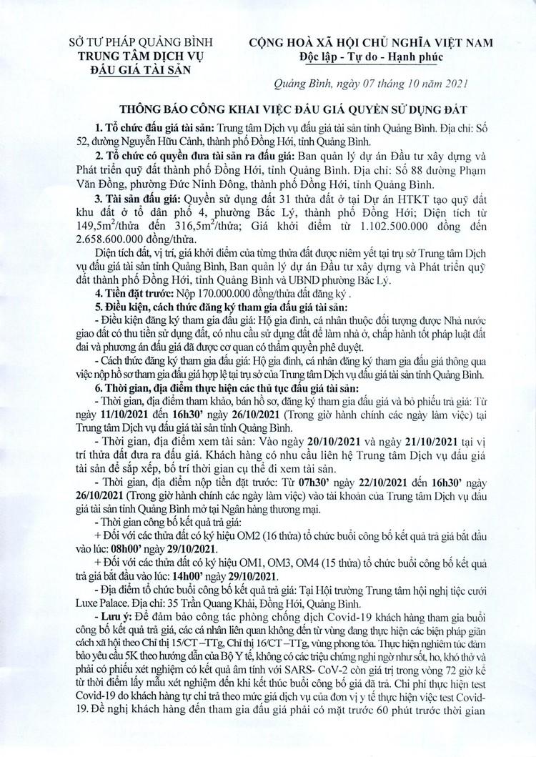 Ngày 29/10/2021, đấu giá quyền sử dụng 31 thửa đất tại thành phố Đồng Hới, tỉnh Quảng Bình ảnh 2