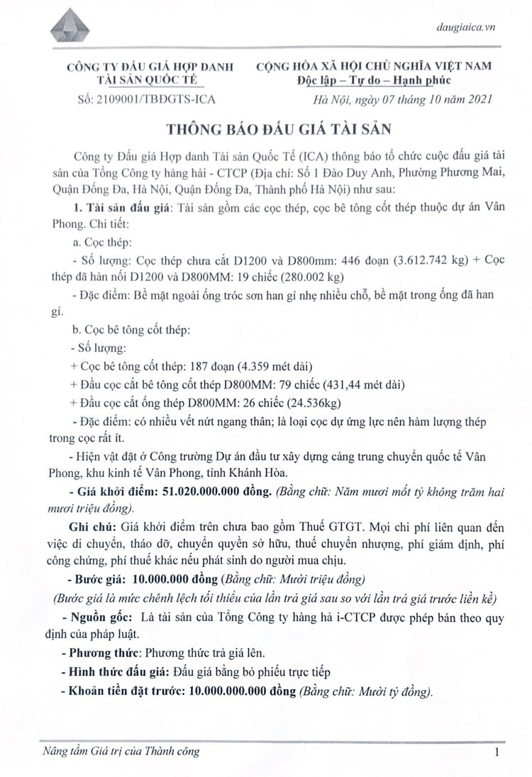 Ngày 25/10/2021, đấu giá các cọc thép, cọc bê tông cốt thép tỉnh Khánh Hòa ảnh 3