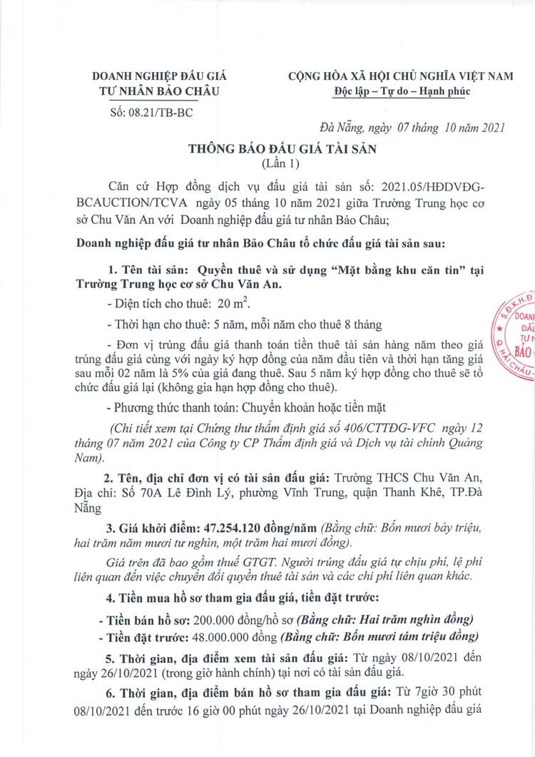 """Ngày 29/10/2021, đấu giá quyền thuê và sử dụng """"Mặt bằng khu căn tin"""" tại Trường Trung học cơ sở Chu Văn An, Hà Nội ảnh 2"""