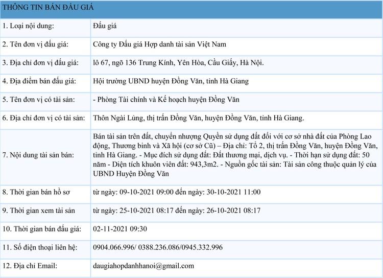 Ngày 2/11/2021, đấu giá quyền sử dụng 943,3m2 đất tại huyện Đồng Văn, tỉnh Hà Giang ảnh 1