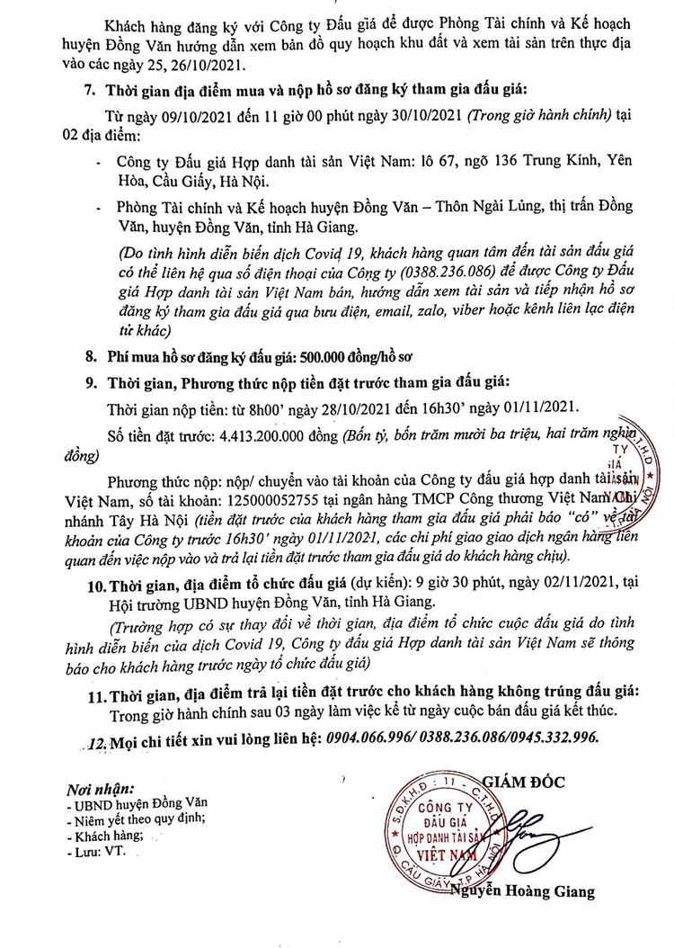 Ngày 2/11/2021, đấu giá quyền sử dụng 943,3m2 đất tại huyện Đồng Văn, tỉnh Hà Giang ảnh 3