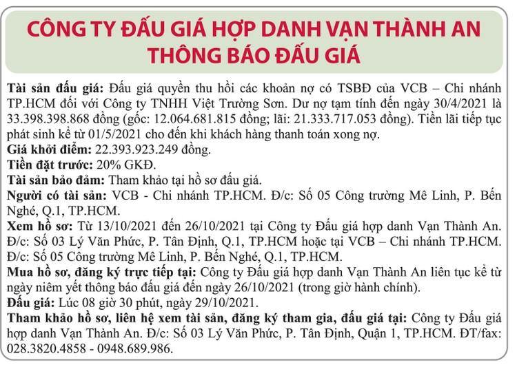 Ngày 29/10/2021, đấu giá quyền thu hồi các khoản nợ của VCB Chi nhánh TP.HCM đối với Công ty TNHH Việt Trường Sơn ảnh 1