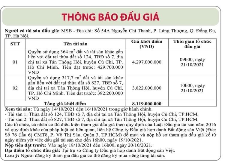Ngày 21/10/2021, đấu giá 2 quyền sử dụng đất tại huyện Củ Chi, TP.HCM ảnh 1