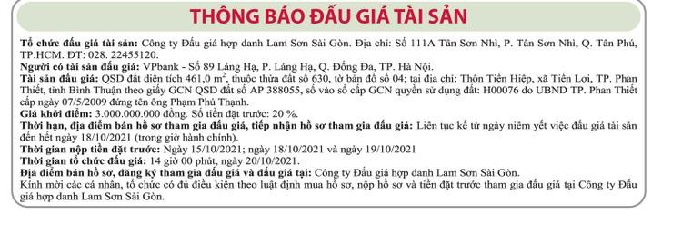 Ngày 20/10/2021, đấu giá quyền sử dụng đất tại TP.Phan Thiết, tỉnh Bình Thuận ảnh 1