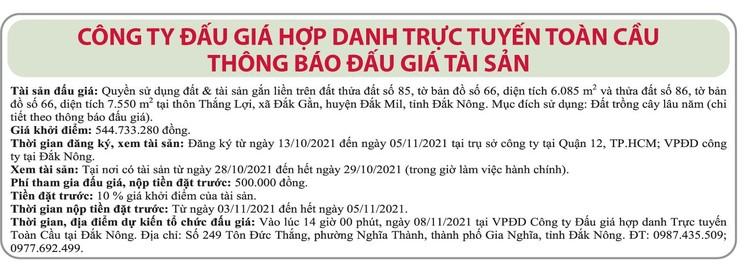 Ngày 8/11/2021, đấu giá quyền sử dụng đất tại huyện Đắk Mil, tỉnh Đắk Nông ảnh 1