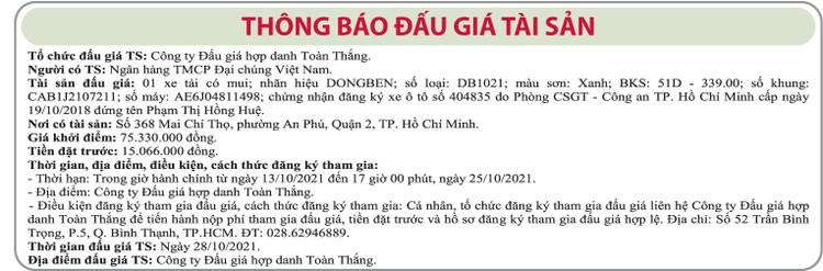 Ngày 28/10/2021, đấu giá xe tải có mui DongBen tại TP.HCM ảnh 1