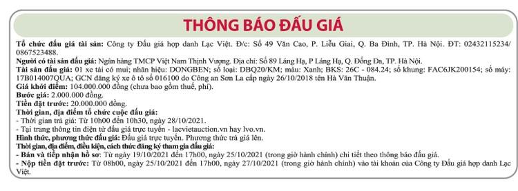 Ngày 28/10/2021, đấu giá xe tải có mui DongBen tại Hà Nội ảnh 1