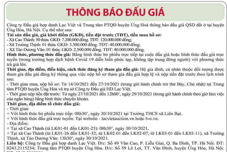 Ngày 30/10/2021, đấu giá quyền sử dụng đất tại huyện Ứng Hòa, Hà Nội ảnh 1