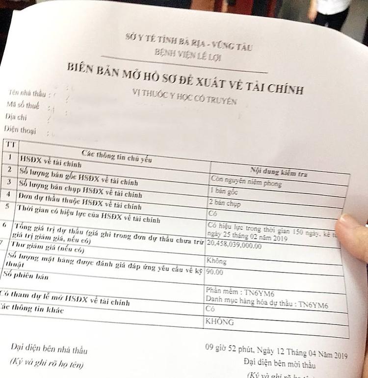 """Đấu thầu mua thuốc tập trung tại Bà Rịa - Vũng Tàu: Lập biên bản mở thầu theo """"cách riêng"""" ảnh 2"""