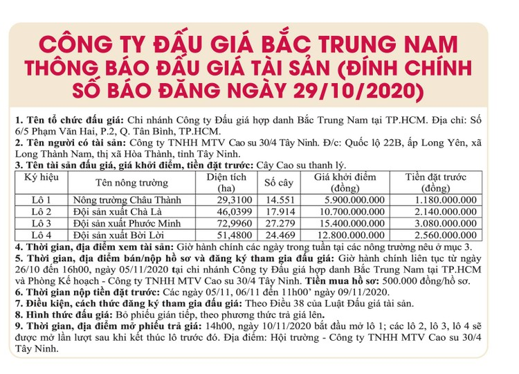 Ngày 10/11/2020, đấu giá cây cao su thanh lý tại tỉnh Tây Ninh ảnh 2