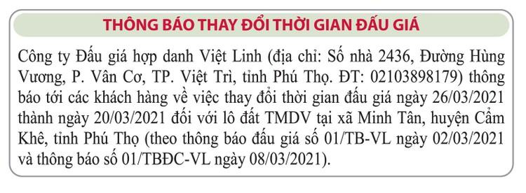 Ngày 26/3/2021, đấu giá quyền sử dụng đất tại huyện Cẩm Khê, tỉnh Phú Thọ ảnh 2