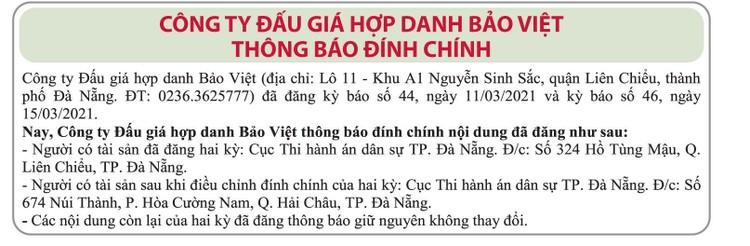 Ngày 1/4/2021, đấu giá quyền sử dụng đất tại quận Liên Chiểu, thành phố Đà Nẵng ảnh 2