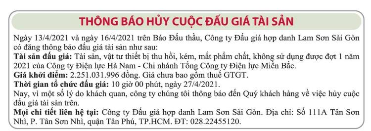 Ngày 27/4/2021, đấu giá tài sản vật tư thiết bị thu hồi tại tỉnh Hà Nam ảnh 2