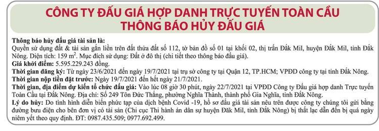 Ngày 22/7/2021, đấu giá quyền sử dụng đất tại huyện Đắk Mil, tỉnh Đắk Nông ảnh 2