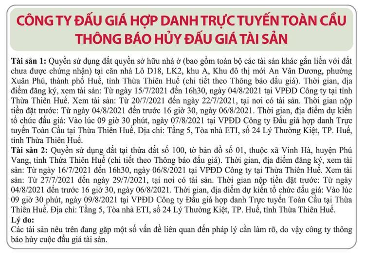 Ngày 9/8/2021, đấu giá quyền sử dụng đất tại huyện Phú Vang, tỉnh Thừa Thiên Huế ảnh 2