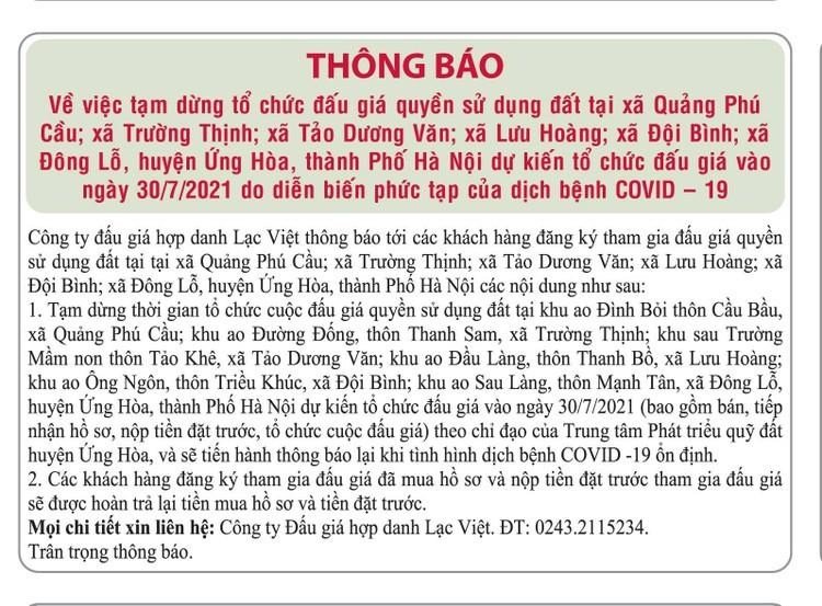 Ngày 9/10/2021, đấu giá quyền sử dụng đất tại huyện Ứng Hòa, Hà Nội ảnh 3