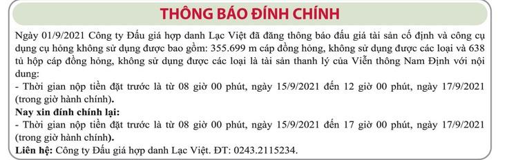 Ngày 20/9/2021, đấu giá cáp đồng và tủ hộp cáp đồng tại tỉnh Nam Định ảnh 2