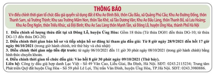 Ngày 9/10/2021, đấu giá quyền sử dụng đất tại huyện Ứng Hòa, Hà Nội ảnh 1